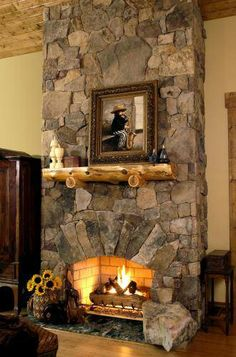 The River Rock Fireplace Surround Soaring Skyward Fireplaces Pinterest Rivers
