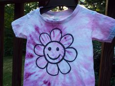 Smiley Face Flower Tee, size 3T, for the hippie toddler girl or flower child from Anything on a Tie Dye at Creations by Maris https://www.etsy.com/listing/281625112/toddler-tie-dye-shirt-3t-tie-dye-w
