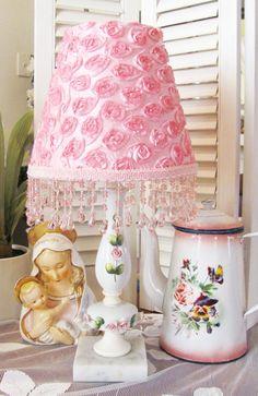 www.shabbyshades.com pn Ebay  Vintage lamp with New Rosette Shade Rose Cottage, Vintage Lamps, Fringe Trim, Vintage Roses, Rosettes, Shabby, Chic, Store, Pink