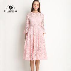 Cute Summer Dress 2017 Women Pink Lace Dress Long Sleeve New Arrive Spring  Lace Dress bcce5d448