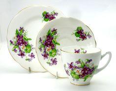 Vintage English Bone China Violets Trio
