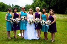 Alternating bridesmaids dresses - turquoise and purple