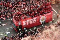 Liverpool FC Champions of Europe. parade through Liverpool UK