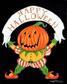 Halloween Art, Halloween Pumpkins, Happy Halloween, Halloween Decorations, Halloween Stuff, Silver Shamrock, In The Tree, Goblin, American Artists