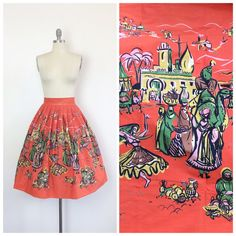 50s Orange Casbah Street Scene Novelty Print Skirt / 1950s Vintage Middle Eastern Cotton Skirt