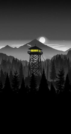 Firewatch Night iPhone Wallpaper - Wallpapers for Phones Scenery Wallpaper, Dark Wallpaper, Nature Wallpaper, Wallpaper Backgrounds, Mobile Wallpaper, Iphone Wallpapers, Wallpaper Jungle, Trendy Wallpaper, Fantasy Landscape