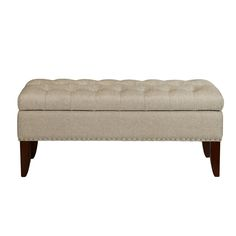 Hinged Top Button Tufted Upholstered Storage Bench