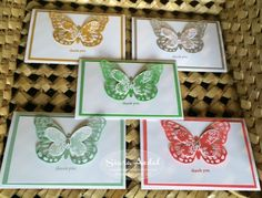"""Siara Sweet Sensations: 2015-2017 In Color Thank You Note Cards. Fun Butterfly """"thank you"""" cards featuring the new Stampin' Up! In Colors."""