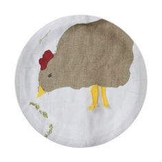 "8 Chicken Appliqué Design Paper Plates 7"""