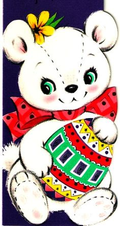 Vintage Easter Card Baby Bear Holding A Pretty Egg by PaperPrizes