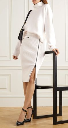 It's the attention to detail that makes TOM FORD's designs stand out, like the chunky zipper running along this midi skirt. Knitted in Italy from supple wool-blend, it's ribbed for a flexible, figure-skimming fit. Adjust the slit to your preference. Tom Ford Chuncky Knit Wool Ribbed Skirt. Winter Fasfion. Fashion over 40. Fashionista. Winter Chunky Knits. #tomford #affiliatelink #fashion #fashionista #winter #winterfashion #ootd