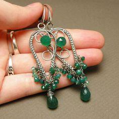 Dangle silver wire wrapped earrings, green onyx, luxury. $140.00, via Etsy.