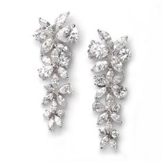 Bridal Earrings,Cubic Zirconia Floral Dangle Earrings