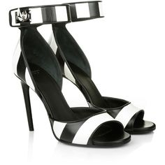 Givenchy Leather Sandal with Ankle Strap Black/White Striped in black,... ($855) ❤ liked on Polyvore featuring shoes, sandals, givenchy, heels, black, heel caps, leather sole shoes, high heel stilettos, black heeled sandals and black leather shoes