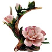 Capodimonte Napoleon Porcelain Pink Roses on Branch