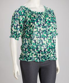 Take a look at this Bubble Dots Shirred Plus-Size Top by Allie & Rob on #zulily today!