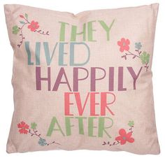 they lived happily ever after slogan cushion and inner free uk p/p