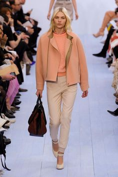 So Chloe! Salmon and bronze with a nudge of pink around the neckline