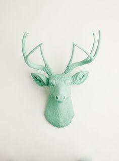 Faux Deer Head - The Eleanor - Seafoam Green Resin Deer Head- Deer Antlers Mounted- Faux Head Wall Mount. $109.99, via Etsy.