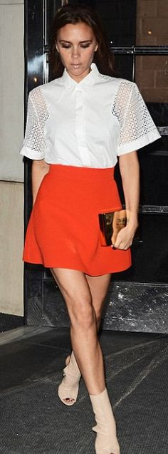Victoria Beckham: Shoes - Manolo Blanik for Victoria Beckham Shirt and Skirt - Victoria Beckham Collection