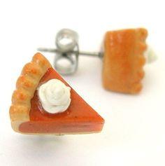 Pumpkin pie stud earrings by inediblejewelry on Etsy, $20.00