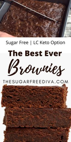 This crazy good recipe for the best tasting brownies that have no added sugar is sinfully good! Perfect for dessert, holidays, parties, or just for snacking on. Chocolate and moist makes this recipe amazing! Keto Low Carb Options! Easy No Bake Desserts, Sugar Free Desserts, Healthy Dessert Recipes, Easy Desserts, Low Carb Recipes, Delicious Desserts, Healthier Desserts, Bar Recipes, Kitchen Recipes