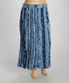 This Navy Abstract Crinkle Maxi Skirt - Plus by Le Mieux is perfect! #zulilyfinds