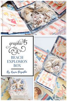 [Video Tutorial] Explosion Box By Kasia Bogatko Graphic 45 - By the Sea - Deluxe Collector's Edition, Sun Kissed paper collection Scrapbook Albums, Scrapbooking, Explosion Box Tutorial, Exploding Boxes, Pop Up Cards, Graphic 45, Sun Kissed, Close To My Heart, Diy Paper
