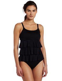 074364dd0e Amazon.com: It Figures! Women's Post Mastectomy Ruffle Tankini, Black, 10:  Clothing