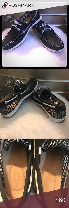 Sperry Top Sider Koifish Mesh Boat Shoe These are brand new and never worn. No defects. Black leather with bright silver laces. Details: Leather and textile upper, molded midsole for superior comfort and support. Sperry Top-Sider Shoes Flats & Loafers