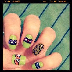 Nails. Design of Teenage Mutant Ninja Turtles. Always finding a way to be original!