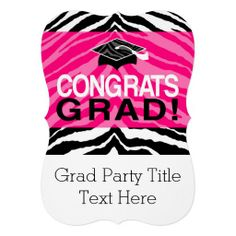 Personalized Pink Black Zebra Graduation Party Personalized Invitation Announcements #classof2014 #graduation #gradparty @Zazzle Inc.