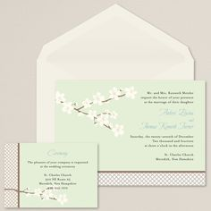Spring Romance Wedding Invitation (available in other colors) | #exclusivelyweddings | #limegreenwedding