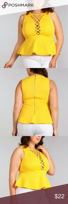 Plus Size Womens Sleeveless Fitted Top Corset Lace Available Colors: Black, Yellow, Coral Available Sizes: 1X, 2X, 3X  -Solid -Waist Length -Sleeveless -Fitted Style -Zipper Closure -Corset Crossed Lacing -Peplum Hem  Content: 95% Polyester 5% Spandex  Please select size according to the measurements(estimate) shown below: Bust: (1X) 38 inches (2X) 40 inches (3X) 42 inches Waist: (1X) 36 inches (2X) 38 inches (3X) 40 inches Height:(1X) 25 inches (2X) 26 inches (3X) 27 inches Tops