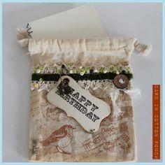 Happy Birthday card in cotton envelope