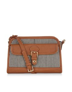 Get a lil' nautical with our striped across-body bag, designed with leather-look panels and a gold-tone metal buckle. Featuring a zip-top fastening, this on-trend piece has plenty of room for day-to-day essentials, plus an additional front pocket, too. Includes an adjustable shoulder strap.