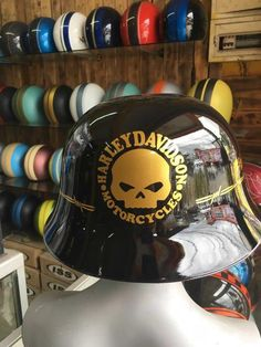 Harley Davidson Helmet With WW German Motorcycle Style | Black Glossy Color #Unbranded #Motorcycle