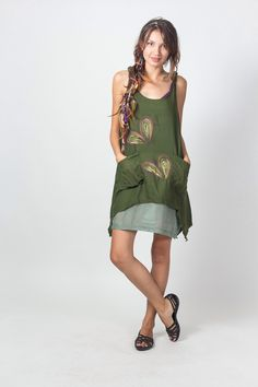 Green Cotton Women Dress Decorated Shoulder straps and Liner (BL104)/ Summer Dress / Hand Painted Tie Dye / Boho / Hippie by NaniFashion on Etsy https://www.etsy.com/listing/156974461/green-cotton-women-dress-decorated