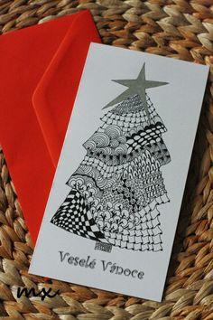 Vánoční stromeček II Christmas Crafts, Xmas, Zentangle, Cards, Zentangle Patterns, Christmas, Navidad, Noel, Maps