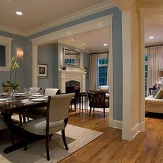 Traditional Dining Design Ideas, Pictures, Remodel and Decor Home Renovation, Home Remodeling, Style At Home, Traditional Dining Rooms, Open Concept Kitchen, Living Room Kitchen, Dining Living Room Combo, Half Wall Kitchen, Kitchen Dining