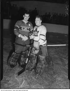 Habs Bill Durnan shaking hands with Leafs Turk Broda postgame, April 19, 1947. The Leafs had just defeated the Habs for the Cup. source: City of Toronto Archives, Fonds 1266, Item 114327