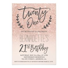 21st Birthday Invitations Modern faux rose gold glitter script 21st Birthday Card