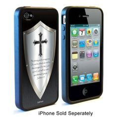 Be strong and courageous. Do not be afraid; do not be discouraged, for the Lord your God will be with you wherever you go. Joshua 1:9 - Shield of Faith iPhone Rubber Case