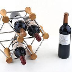 1PC 2016 New Hexagon kitchen shelf wood wine frame wooden wine rack display  wine holder J3007