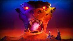 Aladdin approaches the Cave of Wonders guardian, a giant tiger head whose mouth is the cave entrance