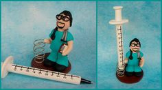 Polymer clay doctor, surgeon, or nurse. Syringe is a pen.