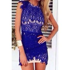 $18.85 Stylish Round Neck Sleeveless Bodycon Lace Dress For Women