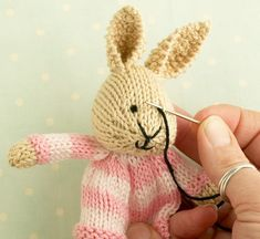 Toy knitting pattern for a bunny egg cosy door Littlecottonrabbits