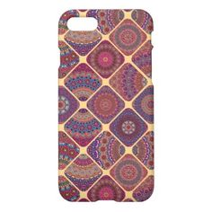 #Vintage patchwork with floral mandala elements iPhone 8/7 case - #girly #iphone #cases