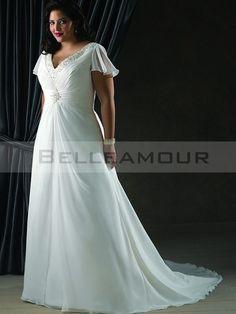 Robe de mariée Grande Taille MPerles Plis A-ligne Manches Courtes